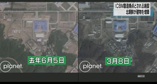 2018년 6월 5일 촬영한 산음동 미사일 시설과 올해 3월 8일 촬영한 미사일 시설 위성사진. /NHK