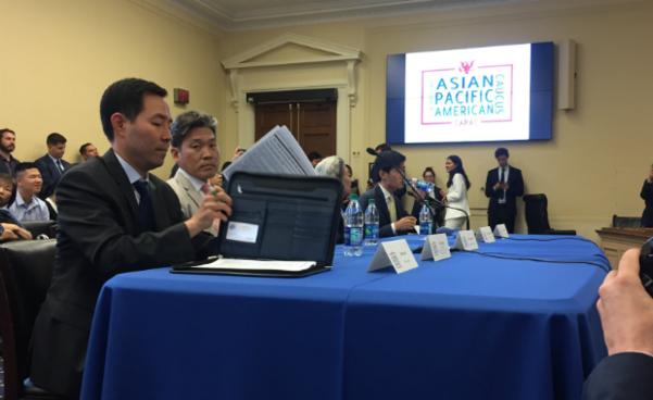 미 연방 아시아태평양코커스가 12일(현지시각) 워싱턴 DC 연방의회에서 개최한 북한 토론회 모습./RFA 캡처