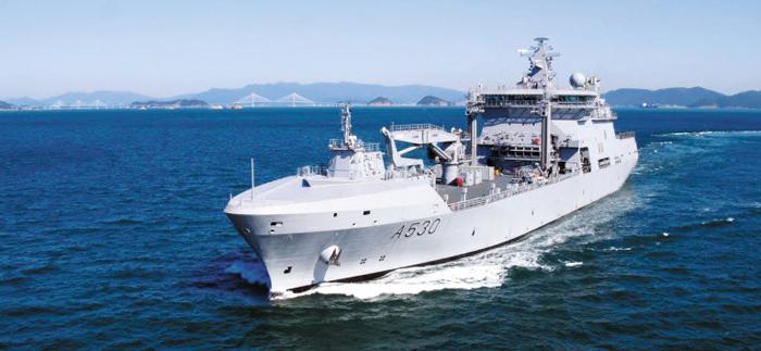 대우조선해양이 최근 노르웨이 해군에 인도한 군수지원함 모드(Maud)함.