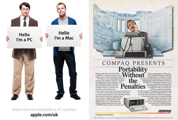 애플은 사람의 스타일로 맥이 일반 PC보다 세련된 작업을 하기 적합하다고 강조했다(왼쪽 사진). 이에 반해 컴팩은 자사 제품 기능에 대해 장황하게 늘어놓는 방식의 광고를 선호했다.