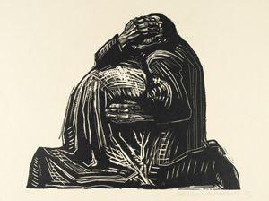 케테 콜비츠, 부모, 종이에 목판화, 1921~22년, 47.3×65.3cm, 뉴욕 근대미술관 소장.