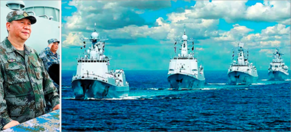 시진핑 중국 국가주석이 2018년 4월 12일 남중국해 해상에서 해군 함정 48척과 76대의 군용기 등이 참여한 건국 이래 최대 규모의 해상 열병식에 참석해 사열하고 있다(왼쪽 사진). 오른쪽 사진은 열병식에 참석한 해군 함정들이 대열을 지어 항해하는 모습. /중국국방부 홈페이지