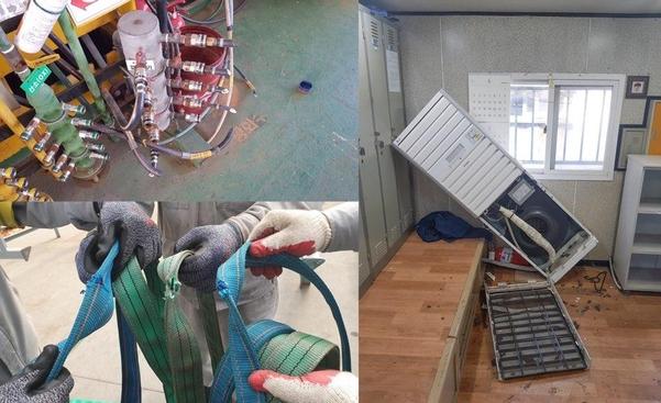 지난 24일 현대중공업 노조원 300여명은 공장에 들어가 작업설비를 훼손하고, 비품을 파손했다. / 현대중공업 제공