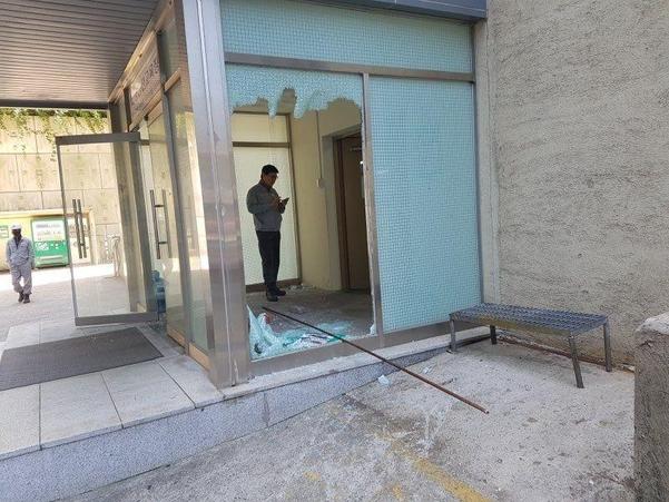 지난 12일 현대중공업 울산 본사 해양사업부 본관 건물이 노조의 불법행위로 파손됐다. / 현대중공업 제공