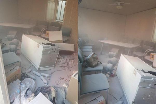 지난 12일 노조 난입으로 엉망이 된 해양공장 휴게실 내부. / 현대중공업 제공