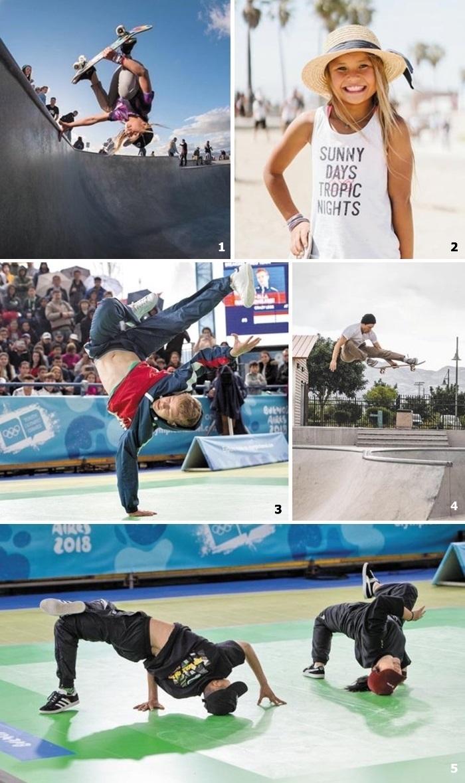 ①②2020년 도쿄올림픽에서 처음 메달 종목이 된 스케이트보딩에 도전장을 낸 영국의 11세 '스케이트보드 신동' 스카이 브라운. ③⑤지난해 부에노스아이레스 청소년 올림픽에서 처음 선보인 브레이킹 종목. ④스노보드 대신 스케이트보드를 타고 맹훈련 중인 미국의 '스노보드 황제' 숀 화이트.