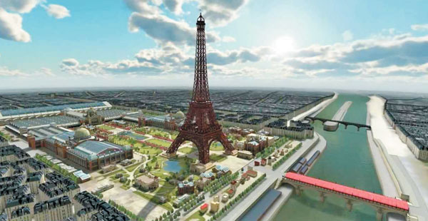 다쏘시스템이 3D 플랫폼 기술을 적용해 재현한 20세기 초의 파리 시내 전경. 당시 도시 건설 과정을 3D 그래픽으로 재현했기 때문에 에펠탑 주변에 현대적인 건축물이 보이지 않는다. / 다쏘시스템