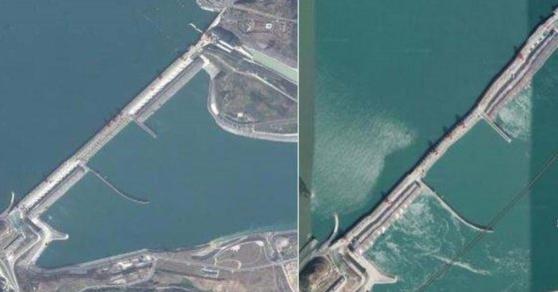 싼샤댐의 초창기 모습(왼쪽)과 댐에 굴곡이 생긴 것으로 보이는 사진. /소셜미디어 캡처