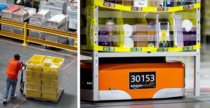 미국 인터넷 쇼핑업체 아마존이 배송 시간을 줄이기 위해 기존에 사람이 직접 상품을 옮기고 분류하는 일(왼쪽)을 최소한으로 줄이고 자체 로봇 기술을 이용한 자동 물류(오른쪽)의 비중을 빠르게 끌어올리고 있다. 이미 미국 전역 105개의 물류창고에서 5만 대의 로봇이 사람이 하던 단순 업무를 대체해 나가고 있다.