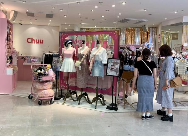 시부야109 백화점에 입점된 한국 브랜드 츄, 파스텔 톤의 핑크는 일본의 젊은 여성들이 열광하는 한국의 이미지다./김은영 기자