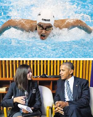 오바마 만난 마르디니 유스라 마르디니가 2016 리우 올림픽 여자 100m 접영에 출전한 모습(위 사진). 2016년 9월 미국 뉴욕에서 열린 세계 난민 위기 정상회담에 참석해 버락 오바마 당시 미국 대통령과 이야기를 나누는 마르디니.