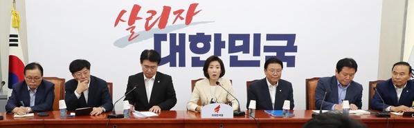 자유한국당 나경원(가운데) 원내대표가 19일 원내대책회의에서 발언하고 있다./연합뉴스