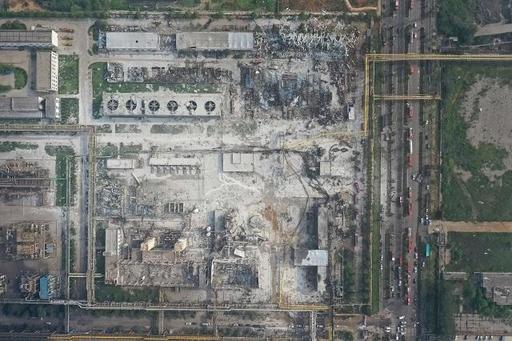 중국 허난성 싸원샤시 이마 소재 가스공장에서 폭발사고가 발생했다. 사진은 사고 현장을 부지를 상공에서 촬영한 모습. /신화 연합뉴스