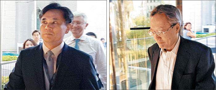 WTO 이사회 참석한 한일 대표 - 23일(현지 시각) 스위스 제네바에서 열린 세계무역기구(WTO) 일반이사회에 한국 정부 대표로 참석한 김승호 산업통상자원부 신통상질서전략실장이 굳은 표정으로 회의장에 들어가고 있다(왼쪽 사진). 일본 정부 대표단의 이하라 준이치 주제네바 일본 대표부 대사도 고개를 숙인 채 회의장에 들어서고 있다(오른쪽 사진). /연합뉴스