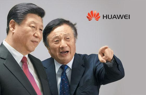지난 2015년 런정페이(오른쪽) 화웨이 회장이 시진핑(왼쪽) 중국 국가주석에게 런던 사무실을 안내하는 모습.