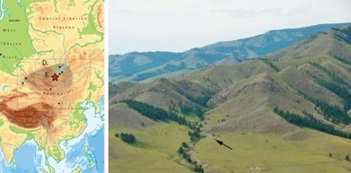 몽골 톨보르계곡(왼쪽 별표지역)과 전경(오른쪽 검은 화살표). /사이언티픽 리포츠 논문 캡처