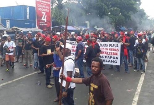 인도네시아령 파푸아의 반정부 시위 소요사태. /자와포스=연합뉴스