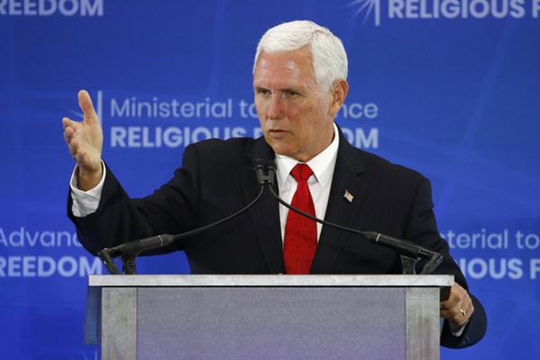 마이크 펜스 미국 부통령이 지난달 18일 미 국무부 청사에서 열린 '종교의 자유 증진을 위한 장관급회의'에서 연설하고 있다. /AP 연합뉴스