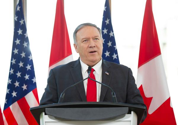 마이크 폼페이오 미 국무장관이 22일(현지시각) 캐나다 오타와에서 기자회견을 하고 있다./AFP·연합뉴스