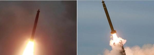 북한이 지난달 31일 발사한 '대구경조종방사포'의 탄체(왼쪽)와 지난 24일 발사한 '초대형 방사포'의 탄체(오른쪽)는 해당 사진에서 나타난 외형상으로는 유사한 모습으로 보인다. /조선중앙통신·조선중앙TV·연합뉴스