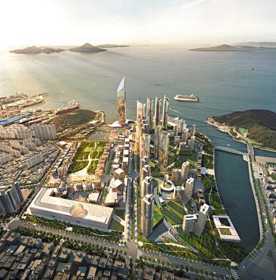 경남 거제시 고현항 앞바다를 메워 개발하는 해양복합도시 '거제 빅아일랜드' 완공 예상 모습.