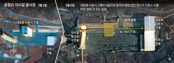 """미국 전략국제문제연구소(CSIS)가 3월 5일 공개한 북한 동창리 미사일 발사장의 지난 3월 2일 위성사진(왼쪽 사진)에는 발사대 은폐 덮개가 열려 있었지만, 지난 6일 위성사진(오른쪽 사진)에는 닫혀 있다. CSIS는 이 사진을 토대로 """"동창리 미사일 발사장이 정상 가동 상태로 돌아갔다""""고 분석했다. /미국 전략국제문제연구소(CSIS)"""