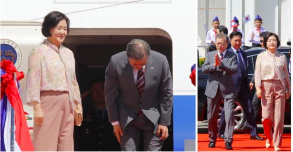 문재인 대통령과 김정숙 여사가 지난 6일 오전(현지시간) 라오스 와타이 국제공항에서 공군 1호기 탑승을 위해 이동하고 있다. 문 대통령은 태국, 미얀마, 라오스 등 동남아 3개국 순방을 마치고 귀국했다./연합뉴스
