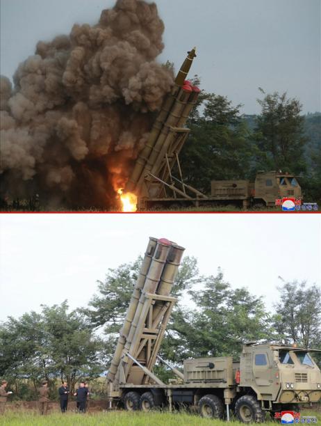 중앙통신 홈페이지가 공개한 사진에서 4개의 발사관 중 1개에서 발사체가 화염을 뿜으며 치솟고 있으며 나머지 발사관 3개의 입구를 빨간색 뚜껑이 덮고 있다(위쪽 사진). 그런데 시험사격을 마치고 찍은 것으로 추정되는 사진을 보면 빨간색 뚜껑이 1개만 남아있어 북한이 3발을 발사했을 가능성도 제기된다(아래쪽 사진)./연합뉴스, 조선중앙통신