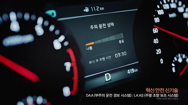 기아차 K7에 적용된 부주의 운전 경보 시스템 /기아차 광고 캡처
