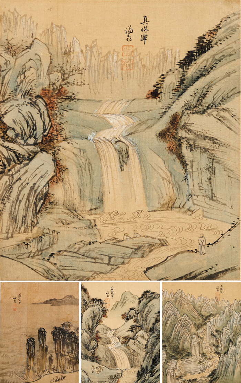 겸재 정선이 금강산 여행 후 그린 진주담(큰 사진)이 일본에서 처음 발견됐다. 비단에 수묵담채, 26.2×22.6㎝. 작은 사진은 왼쪽부터 총석정(28.5×22.1㎝), 벽하담(26.4×22.5㎝), 만폭동(28.5×22.5㎝).