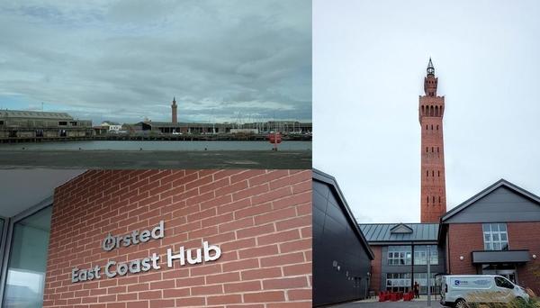 영국 북동부 험버 지역 그림스비 항구에 덴마크 에너지 기업 오스테드가 입주했다. 왼쪽 상단 사진은 석탄 및 철강 수출업의 쇠퇴로 낙후된 그림스비 항구 모습. 왼쪽 하단부터 시계 반대 방향으로 오스테드 사옥. /이경민 기자