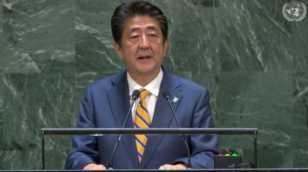 아베 신조 일본 총리가 24일 미국 뉴욕 유엔 본부에서 열린 유엔총회 일반토론에서 연설을 하고 있다. /UN