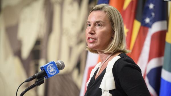 페데리카 모게리니 외교안보정책 고위대표가 25일 뉴욕 유엔본부에서 열린 기자회견에서 발언하고 있다./UN