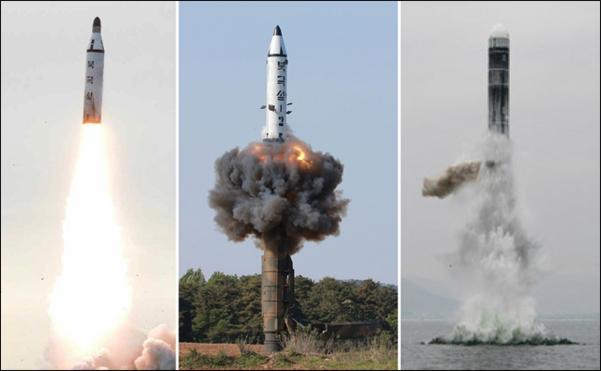 왼쪽부터 북한이 지난 2016년 8월 시험발사한 잠수함발사탄도미사일(SLBM) '북극성-1형'과 2017년 2월 지상발사용으로 개조해 발사한 '북극성-2형', 맨 오른쪽은 3일 공개한 신형 SLBM '북극성-3형'이다. 북극성 1형과 2형은 탄두부가 뾰족한 모양이지만 3형은 둥글다. /연합뉴스