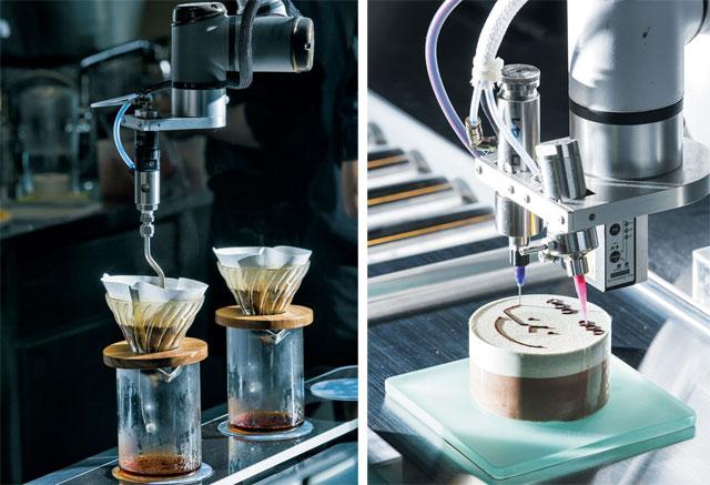 서울 성수동 '카페봇'에서 커피를 내리는 '드립봇'(왼쪽)과 케이크에 초콜릿 시럽으로 그림을 그리는 '디저트봇'./김종연 영상미디어 기자