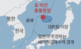 북한 어선 충돌현장 위치 지도