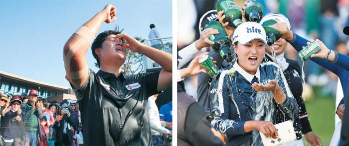 임성재(왼쪽 사진)가 13일 KPGA 투어 제네시스 챔피언십에서 역전 우승을 확정한 뒤 기뻐하는 모습. 그의 국내 대회 첫 우승이다. 같은 날 고진영은 KLPGA 투어 하이트진로 챔피언십에서 우승컵을 들어 올리며 국내 통산 10승째를 올렸다.