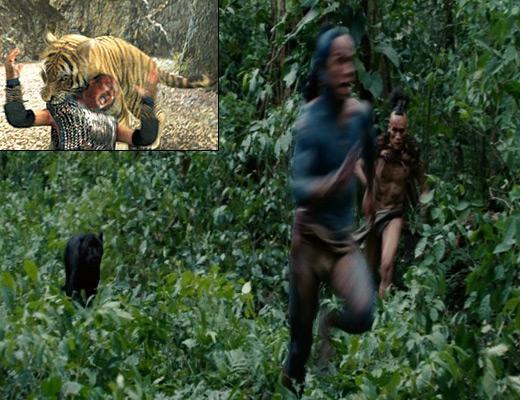 온라인 상 표절 논란이 뜨거운 영화 '최종병기 활'(좌측 상단)과 '아포칼립토' 의 한 장면.
