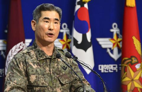 6일 국방부에서 합참 작전부장 김용현 소장이 최근 북한의 인민군 최고사령부 성명을 비롯한 군사위협에 대한 입장을 발표하고 있다. /성형주 기자