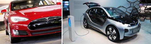 올 1분기 역사상 최초로 흑자를 낸 미국 테슬라의 전기차.(왼쪽) /올 하반기 전 세계에 선보일 전기차 BMW i3.