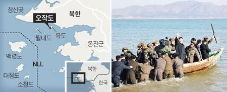 김정은 북한 노동당 제1비서가 지난 3월 11일 서해 월내도 방어대를 시찰한 뒤 목선을 타고 떠나는 모습.