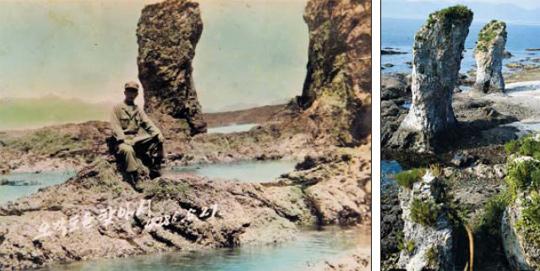 停戰 두 달 앞두고 오작도에서… 최일도 목사의 아버지 최희화씨가 정전 2개월을 앞두고 북한 황해도 근처 오작도를 배경으로 기념 촬영을 하고 있다. 당시 미군 측이 컬러 사진을 찍어 최씨에게 전달한 것으로 추정된다. 오른쪽 사진은 대남 선전용 웹사이트인'우리민족끼리'가 트위터 계정에 공개한 오작도 모습