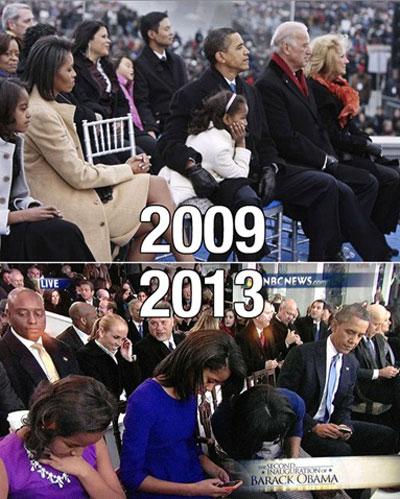 2009년과 2013년 오바마 대통령의 취임식 장면