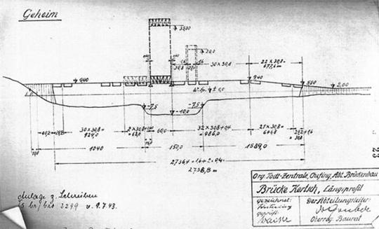 1943년 나치 군사 설계 그룹 토트(Todt)가 히틀러의 지시를 받고 제출한 러시아-크림반도 연결 교량 설계도 사진
