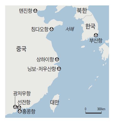 한국과 중국의 주요 항구 위치 지도
