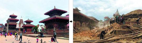 네팔 카트만두의 유네스코 세계문화유산 파탄 더르바르 광장이 25일 지진으로 주요 건물들이 무너져내렸다. 왼쪽 사진은 지진 이전의 파탄 더르바르 광장. 이 일대의 유네스코 세계문화유산 7곳 가운데 최소 4곳이 지진으로 손상됐다고 외신들은 전했다.