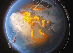 2013년 우주로 발사된 유럽 위성들의 상상도.