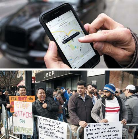 대표적인 공유경제 기업인 우버의 스마트폰 앱을 이용해 차량을 호출하는 모습(위)과 우버 기사들이 미국 뉴욕에서 처우 개선을 요구하면 시위하는 장면(아래). 공유경제의 출현은 빈방이나 노는 차량 등 유휴 자원을 활용해 교통·물류·숙박 등의 서비스를 더 싸고 편리하게 이용할 수 있게 해줬다. 하지만 기업과 근로자 간의 전통적인 고용 관계를 허물고 경쟁을 심화해 새로운 사회적 문제를 만들고 있다는 비판도 나온다.