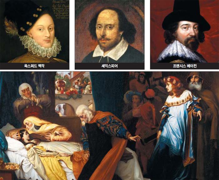 셰익스피어는 가짜라는 주장이 200년 전부터 제기되어 왔다. 사실은 철학자 프랜시스 베이컨이나 제17대 옥스퍼드 백작이 썼다는 의혹이었다. 그림의 화가는 오른쪽부터 반시계방향으로 프란스 푸르부스(1617), 존 테일러(추정·1610), 작자 미상. 아래 그림은 프레더릭 레이턴의 '줄리엣의 위장된 죽음'(1858).