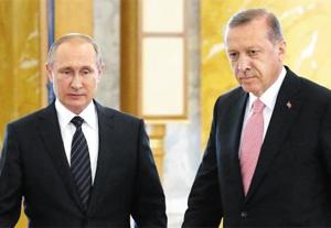 정상회담을 마친 푸틴(왼쪽) 러시아 대통령과 에르도안 터키 대통령.
